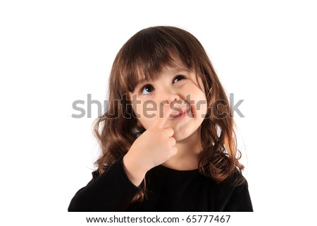Little three year old brunette little girl holding her finger close to her nose with a thinking expression, hmm - stock photo