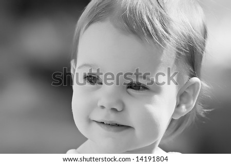 Little toddler girl gazing