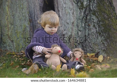 little toddler playing in an autumn park with oy hedgehogs - stock photo