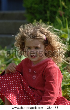 Little Toddler with beautiful blonde hair blowing - stock photo