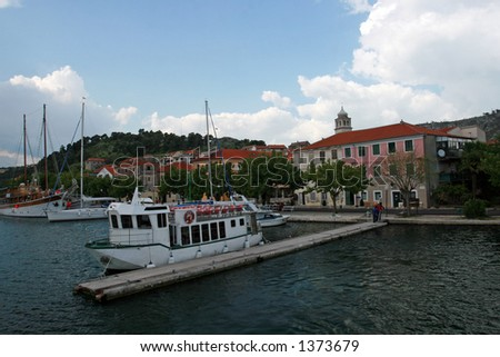 Little town and port Skradin in Croatia - stock photo