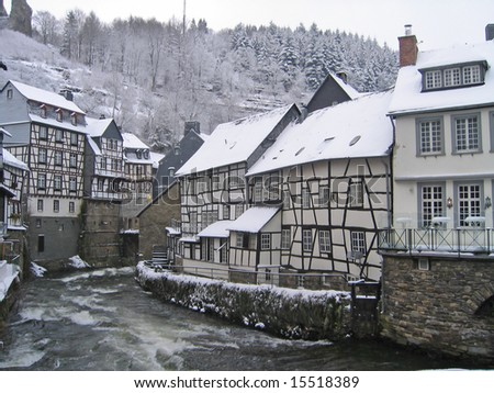 Little town during heavy winter - stock photo