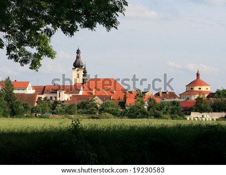 Little town with two churches - stock photo