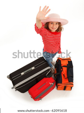 Little traveler girl waving with hand - stock photo