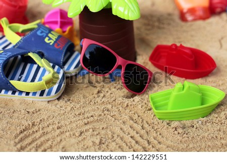 Little traveler in tropics - stock photo