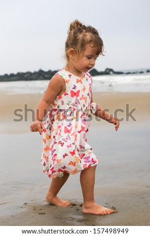 Little two year old girl at the beach