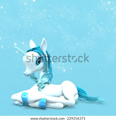 Little Unicorn - A baby unicorn with an ice blue horn lying down with magical stars behind. - stock photo