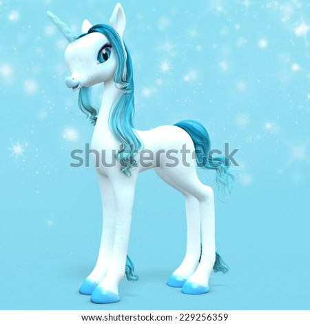 Little Unicorn - A baby unicorn with an ice blue horn with magical stars behind. - stock photo