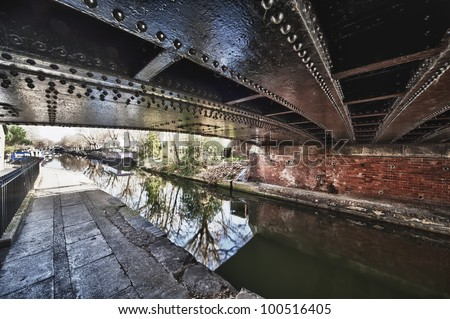 Little Venice canal boat London HDR - stock photo