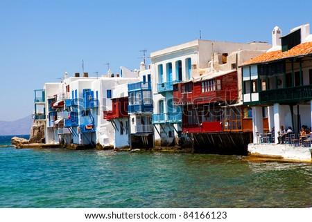 Little Venice in a greek island of Mykonos, Greece - stock photo