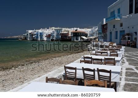 Little venice in Mykonos, Greece - stock photo