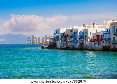 Little Venice in the morning on Mykonos Island in the Mediterranean Sea. Greece. - stock photo