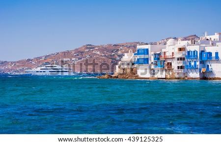 Little Venice  on Mykonos Island in the Mediterranean Sea. Greece. - stock photo
