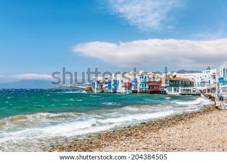 Little Venice waterfront in Mykonos, Cyclades, Greece - stock photo