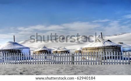 little village in mongolia - stock photo