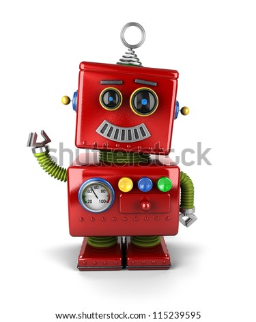 Little vintage toy robot waving hello over white background - stock photo