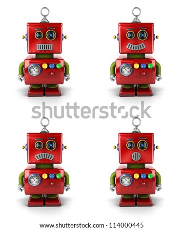 Little vintage toy robot with four different facial expressions over white background - stock photo