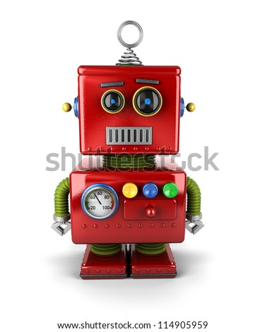 Little vintage toy robot with neutral facial expression over white background - stock photo
