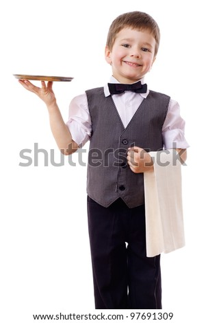Little waiter standing with tray and towel, isolated on white
