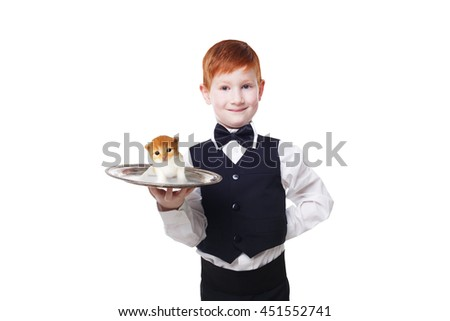 Little waiter stands with ginger kitten on a tray. Smiling redhead child boy in suit gives pet present, isolated at white background