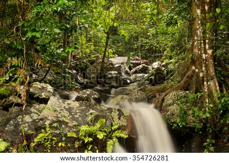 little Waterfall at Barron Gorge National Park, Cairns, Queensland - stock photo