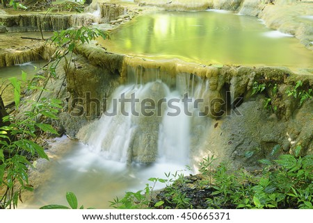 Little waterfall in forest,select focus with shallow depth of field:ideal use for background.