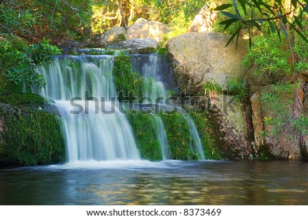 Little waterfall in mountains. Shot in Hottentots Holland Mountains, Vergelegen area, near Somerset West, Western Cape, South Africa. - stock photo