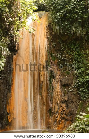 Little waterfall on St. Lucia in the Caribbean - stock photo