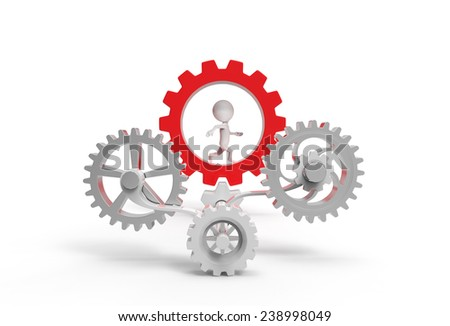 Little white man running in the gears - stock photo