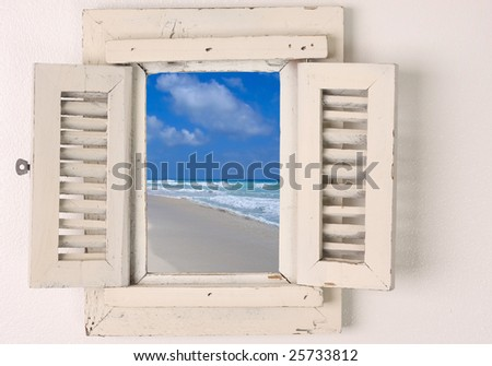 Little window with shutters. - stock photo