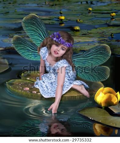 little winged fairy - stock photo