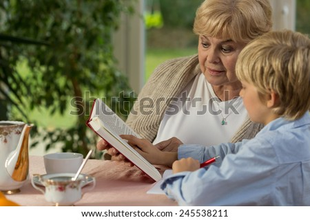 Little wise boy study at home with his lovely granny - stock photo