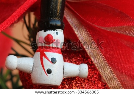 Little wooden Christmas decoration - stock photo