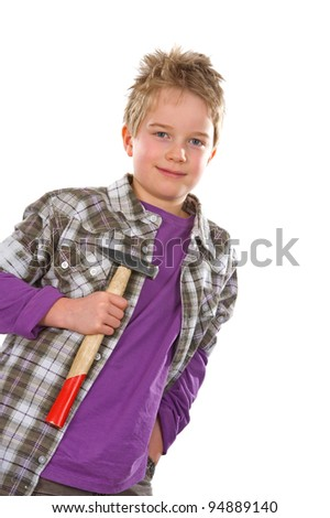 little workman with hammer - stock photo