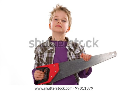 little workman with saw - stock photo