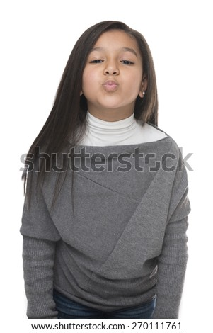 Little Young Girl Kiss Isolated on White Background - stock photo