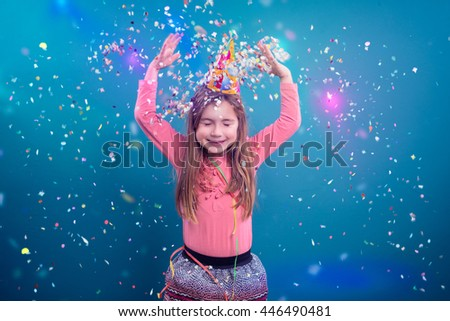 little young girl making party - stock photo