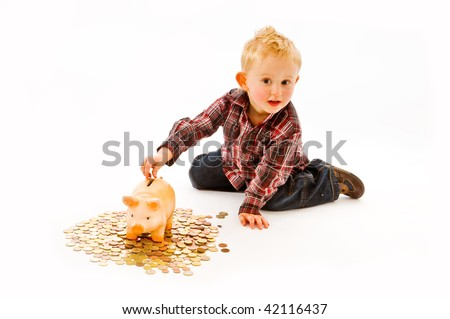 littleboy with piggybank
