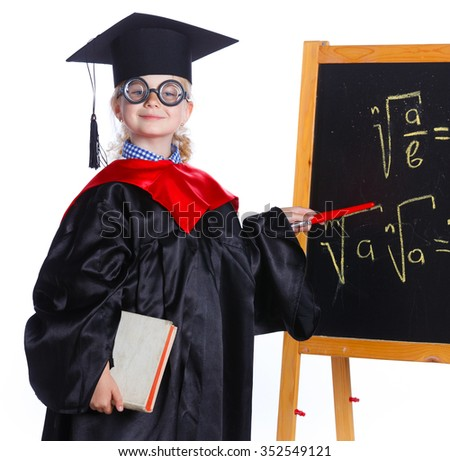 Littlegirl in academic hat doing complex math on black chalkboard. Isolated on a white background - stock photo