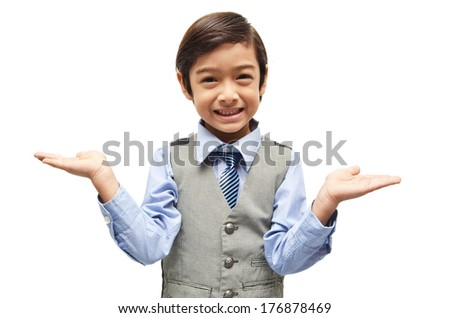 littly boy showing empty 2 hands up on white background - stock photo