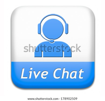live chat blue button. Chatting online sign.  - stock photo