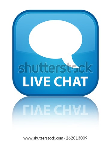 Live chat cyan blue square button - stock photo