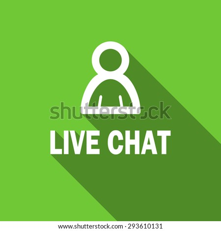 live chat flat icon  original modern design green flat icon for web and mobile app with long shadow  - stock photo