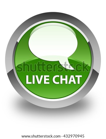 Live chat glossy soft green round button - stock photo