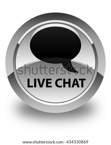 Live chat glossy white round button - stock photo