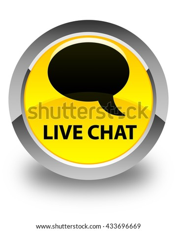 Live chat glossy yellow round button - stock photo