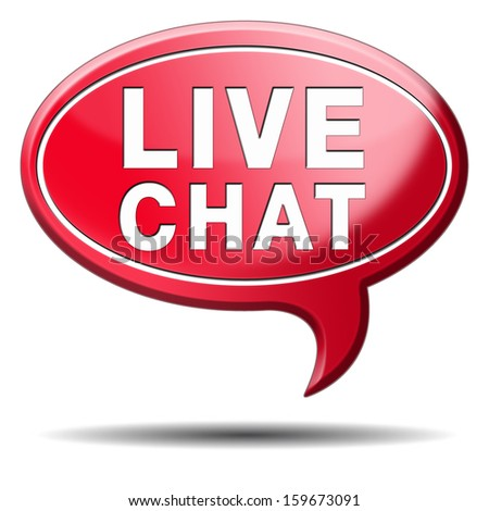 live chat icon. Chatting online button. Red text balloon.