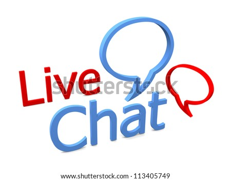 Live chat icon on white background - stock photo