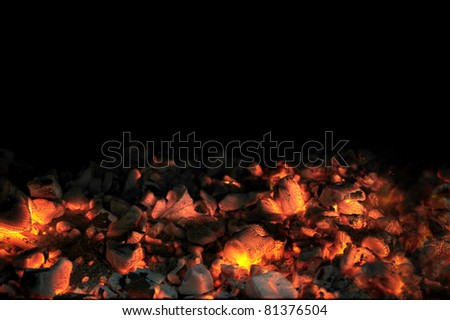 Live Coals With Black Background - stock photo