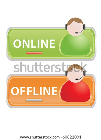 Live help signs (Customer support symbols for web) - stock photo